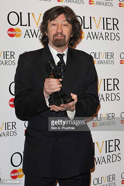 Sir Trevor Nunn accepting on behalf of Best Supporting Actress winner Sheridan Smith in the press room during the 2012 Olivier Awards at The Royal...