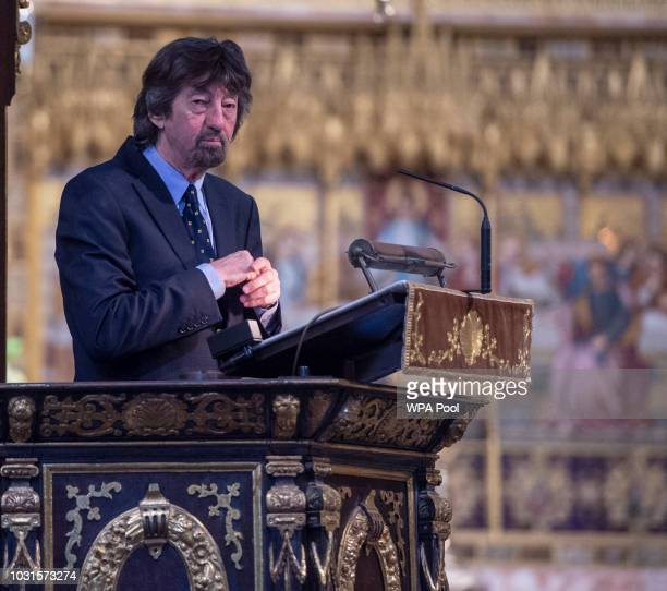 Sir Trevor Nunn speaks during a memorial service for Sir Peter Hall OBE at Westminster Abbey on September 11 2018 in London England Sir Peter Hall...