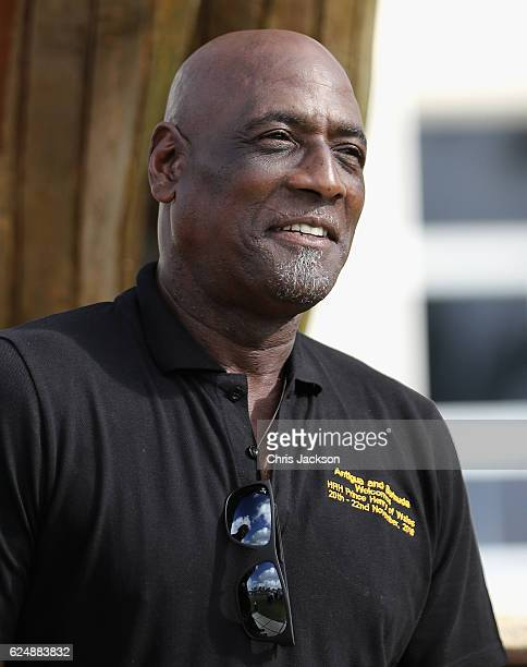 Sir Vivian Richards attends a youth sports festival at Sir Vivian Richards Stadium showcasing Antigua and Barbuda's national sports, on the second...