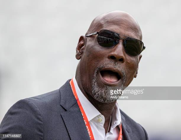 Sir Vivian Richards enjoying the pre-match atmosphere during the Group Stage match of the ICC Cricket World Cup 2019 between West Indies and Pakistan...