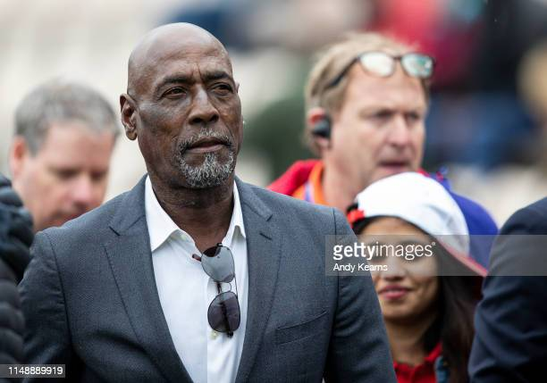 Sir Vivian Richards enjoying the pre-match atmosphere during the Group Stage match of the ICC Cricket World Cup 2019 between South Africa and West...