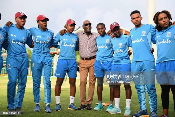 Sir Vivian Richards looks on as he joins the West Indies huddle during a West Indies Net Session at Coolidge Cricket Ground on November 20, 2018 in...