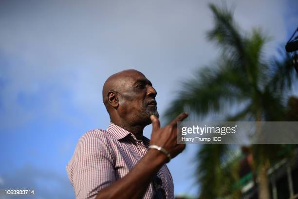 Sir Vivian Richards looks on during a West Indies Net Session at Coolidge Cricket Ground on November 20, 2018 in Antigua, Antigua and Barbuda.