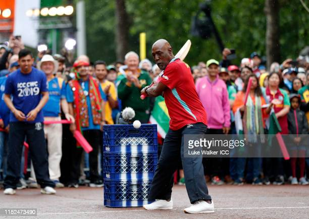 Sir Vivian Richards of West Indies bats during the ICC Cricket World Cup 2019 Opening Party at The Mall on May 29, 2019 in London, England.