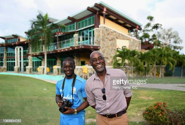 Sir Vivian RIchards smiles during a West Indies Net Session at Coolidge Cricket Ground on November 20, 2018 in Antigua, Antigua and Barbuda.