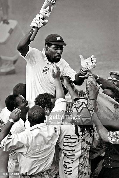 Sir Vivian Richards the West Indian cricketer is chaired off the pitch by celebrating fans after he helped secure victory over England in the 4th...