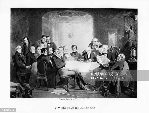 Sir Walter Scott and his friends, c1849. Scottish novelist Sir Walter Scott and his literary friends at Abbotsford: seated; Thomas Thomson, James...