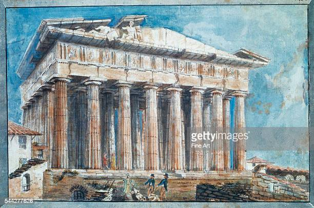 Sir William Gell The Removal of the Sculptures from the Pediments of the Parthenon by Lord Elgin watercolor and pencil on paper 20 x 31 cm Benaki...