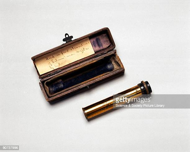 Sir William Ramsay the Scottish chemist used this handheld directvision spectroscope to observe the faint spectra of inert gases such as helium neon...