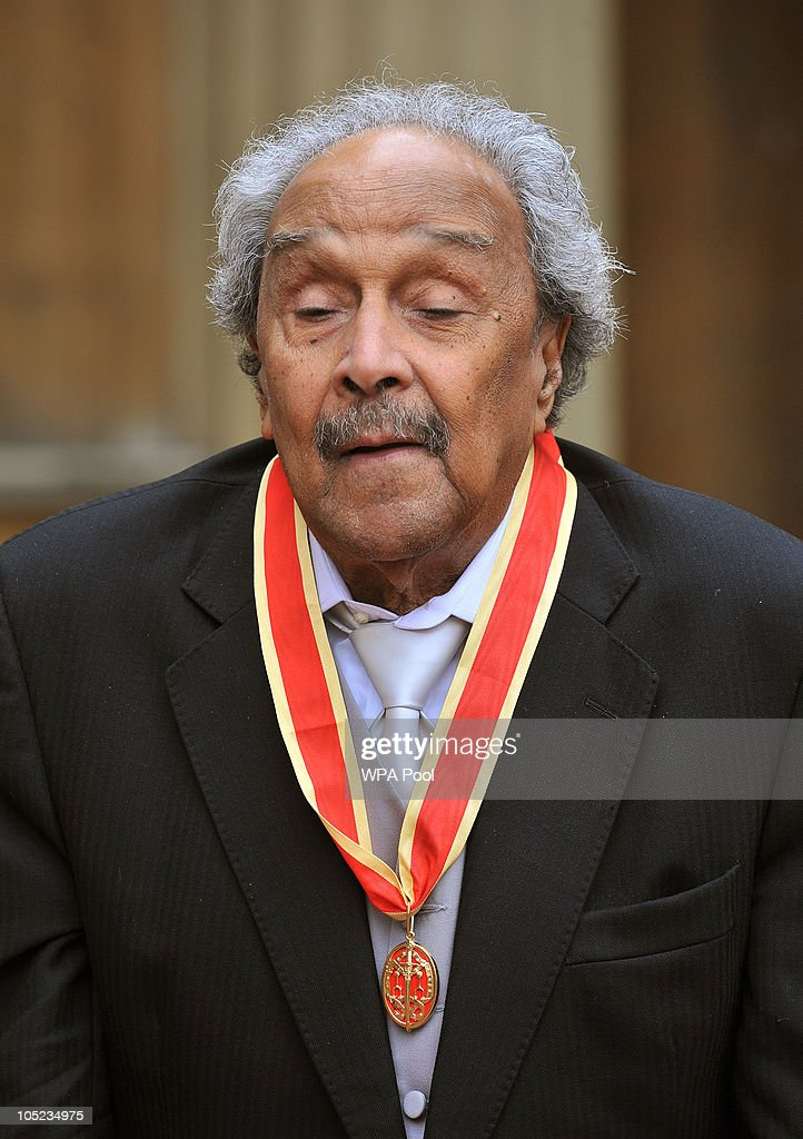 Sir Wilson Harris poses with his medal after receiving a Knighthood from Queen Elizabeth II during the Royal Investiture ceremony at Buckingham Palace on October 13, 2010 in London, England. The Guyanese writer was honoured for his contribution to literature.