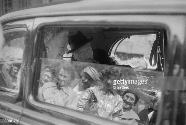 Sir Winston Churchill and his wife Clementine leaving their country home Chartwell in Westerham Kent on a summers day in 1959 when the house and...