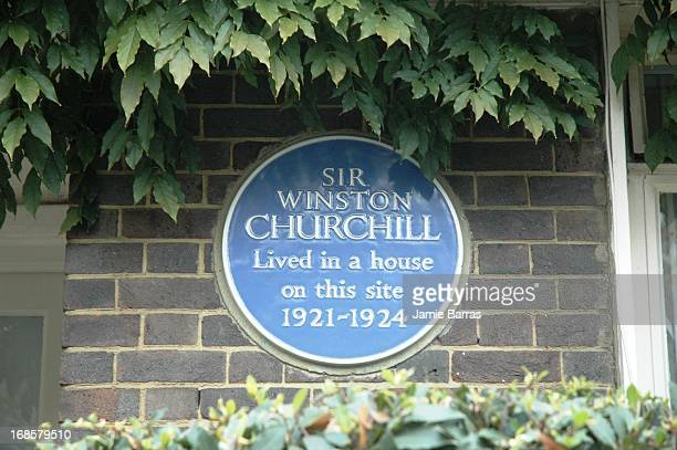 Sir Winston Churchill blue plaque, Sussex Square W2, Bayswater, London.