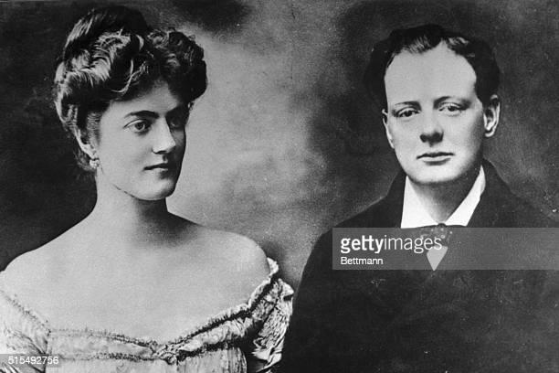 Sir Winston Churchill Britain's elder statesman and prime minister is shown here with his then fiancee Miss Clementine Hozier in a photo made a week...