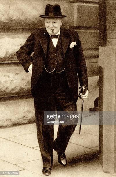 Sir Winston Churchill leaving 10 Downing Street, London. British Prime Minister, 1874-1965.
