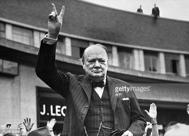Undated picture of Sir Winston Churchill making the victory sign