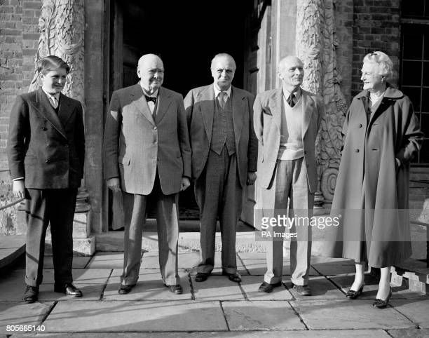 Sir Winston Churchill on his 83rd birthday at his home at Chartwell, Kent. Also pictured Winston , Randolph Churchill , Field Marshall Viscount...