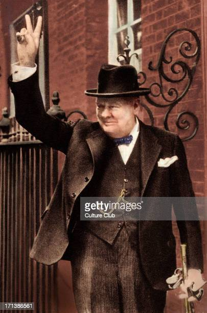 Sir Winston Churchill portrait of British Prime Minister giving the 'V' victory sign 18741965 Colourised version