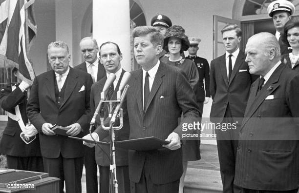 Sir Winston Churchill receives the first honorary citizenship of the United States in absentia on 09 April 1963. The picture shows US president John...