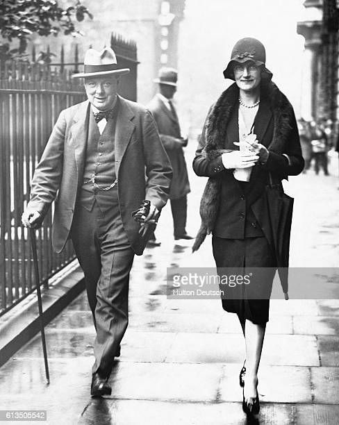 Sir Winston Churchill the Chancellor of the Exchequer with his wife Clementine in 1929 the year in which they celebrated their 21st wedding...