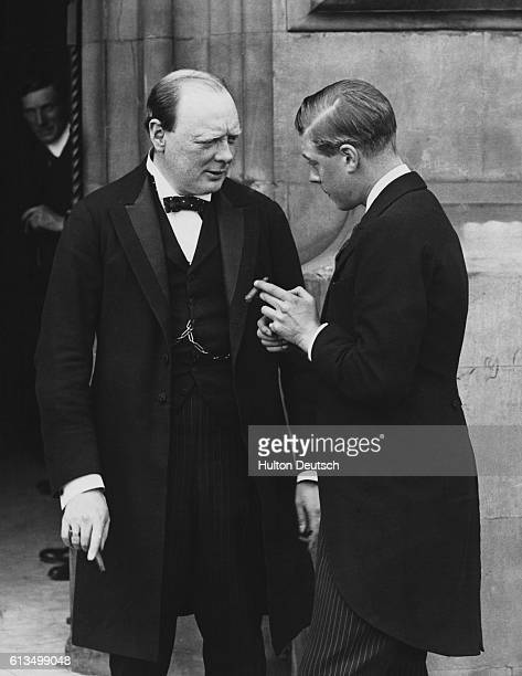 Sir Winston Churchill the then Secretary of State for War in conversation with the Prince of Wales outside the House of Commons in London in 1919...