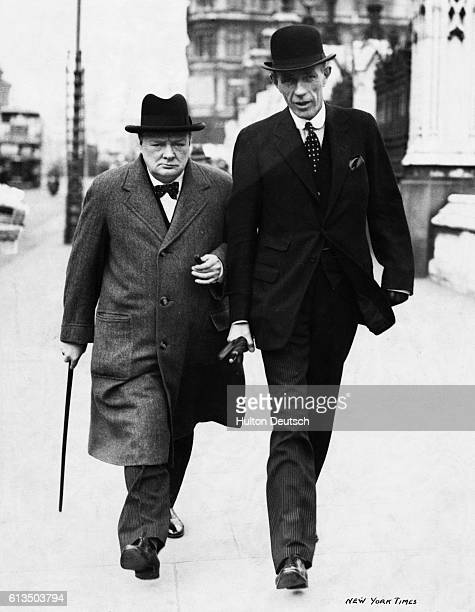 Sir Winston Churchill walks to Parliament with the Foreign Minister Viscount Halifax, 1938.