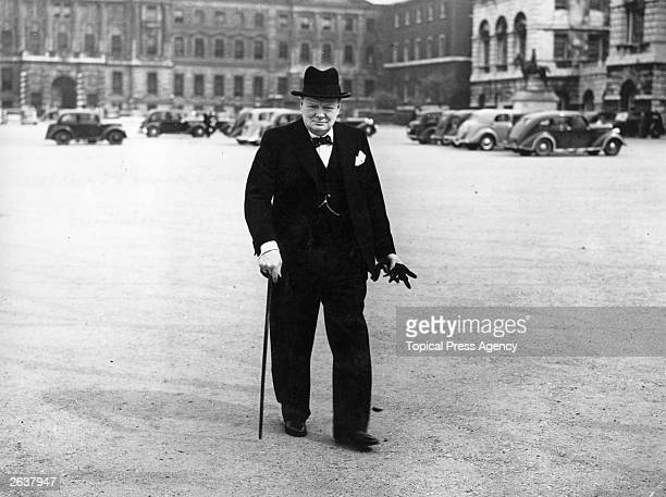 Sir Winston Leonard Spencer Churchill arriving at number 10 Downing Street London for a cabinet meeting