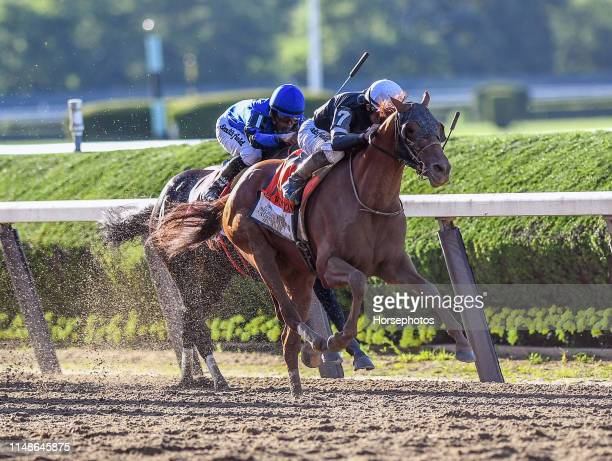 Sir Winston with Jockey Joel Rosario aboard wins the Grade I Belmont Stakes at Belmont Park Race Track on June 8 2019 in Elmont New York