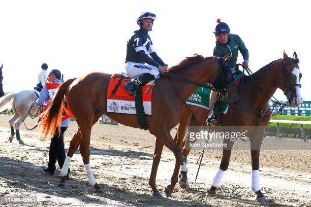 Sir Winston with Joel Rosario aboard enters the track prior to the 151th running of the Belmont Stakes at Belmont Park on June 08 2019 in Elmont New...