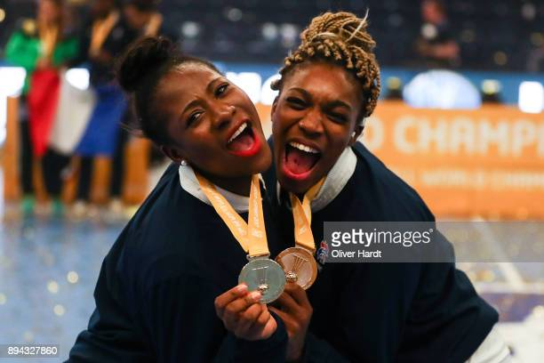 Siraba Dembele and Kalidiatou Niakate of France celebrate after the IHF Women's Handball World Championship final match between France and Norway at...