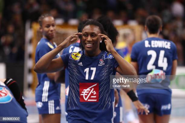 Siraba Dembele of France celebrate after the IHF Women's Handball World Championship Semi Final match between Sweden and France at Barclaycard Arena...