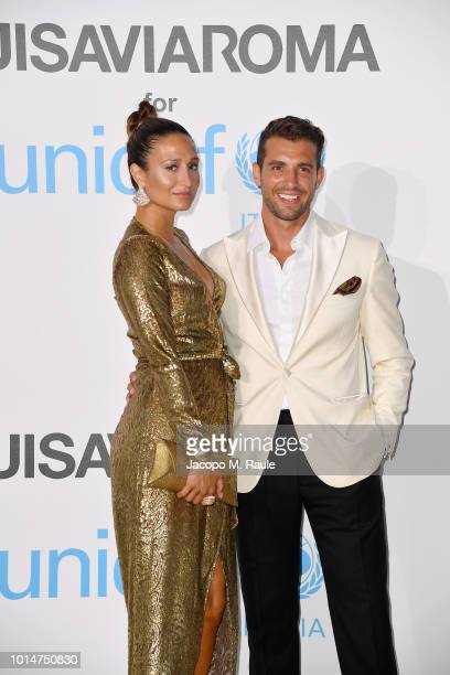 Siran Manoukian and Tommaso Chiabra attend a photocall for the Unicef Summer Gala Presented by Luisaviaroma at Villa Violina on August 10 2018 in...