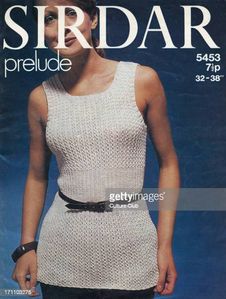 'Sirdar prelude' knitting pattern woman wearing a knitted sweater vest Cover of a knitting instruction booklet by the company Sirdar Ltd