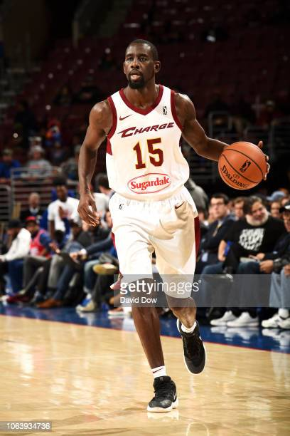 Sir'Dominic Pointer of the Canton Charge handles the ball against the Delaware Blue Coats on November 20 2018 at the Wells Fargo Center in...