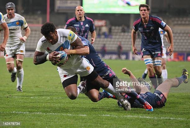 Sireli Naqelevuki of Exeter dives over for a try during the Amlin Challenge Cup quarter final match between Stade Francais and Exeter Chiefs at Stade...
