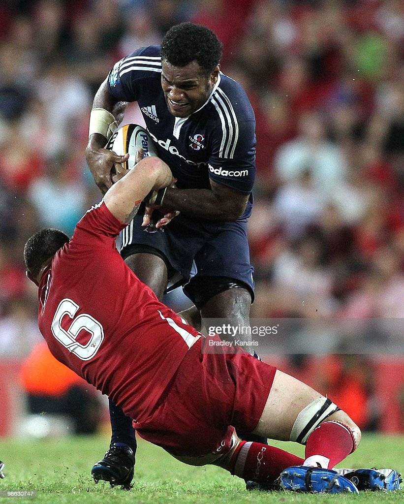 Sireli Naqelevuki of the Stormers attempts to break through the Reds defence during the round eleven Super 14 match between the Reds and the Stormers at Suncorp Stadium on April 23, 2010 in Brisbane, Australia.
