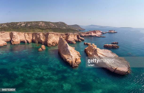 siren cliffs and rocks, orak island, foca, izmir, turkey - aegean turkey stock pictures, royalty-free photos & images