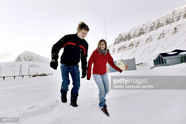 DESHAYES Siren Lindeth and Odin Kirkemoen are pictured outside Longyearbyen School on February 27 2008 in Longyearbyen located in the Svalbard...