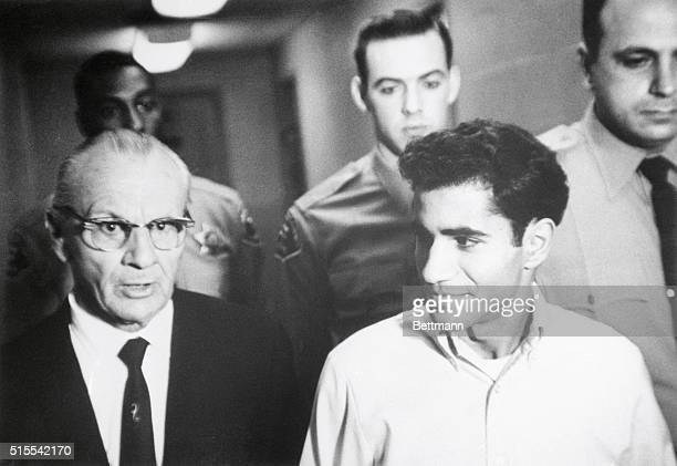 Sirhan B Sirhan sitting in wheel chair leaves jail chapel turned into a courtroom June 28 after being granted an additional three weeks to enter his...