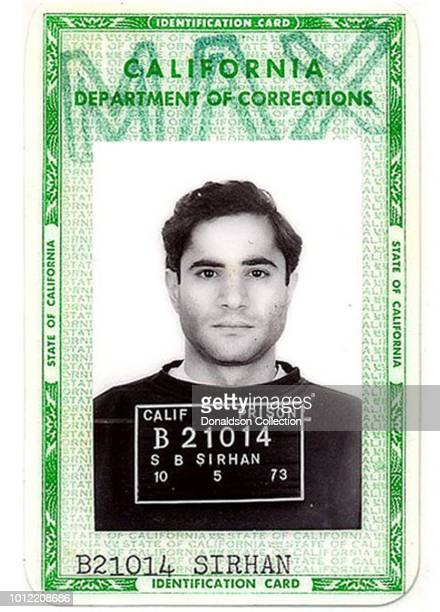 Sirhan Sirhan who assassinated Robert F Kennedy in June 1968 is seen above in a 1973 California Department of Corrections identification card