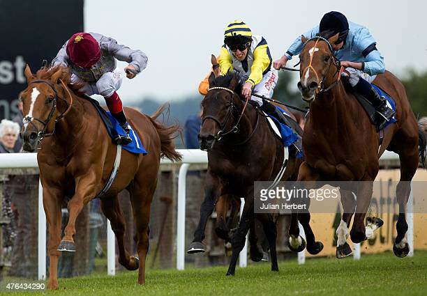 Sirheed ridden by Frankie Dettori leads the field home to win the 1455 The Bathwick Tyres Maiden Stakes Race run at Salisbury Racecourse on June 9...