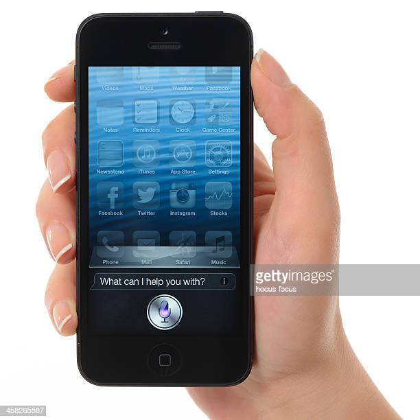 siri on iphone 5 - siri mobile app stock pictures, royalty-free photos & images