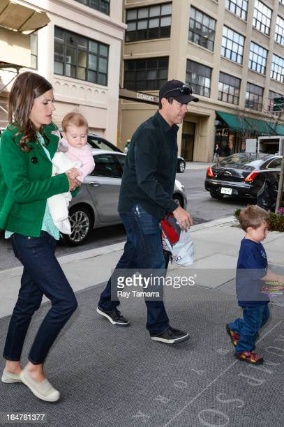 Siri Pinter Etta Jones Daly TV personality Carson Daly and Jackson James Daly enter their Soho hotel on March 27 2013 in New York City