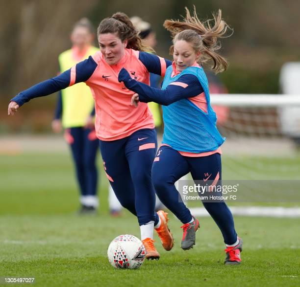 Siri Worm and Angela Addison of Tottenham Hotspur Women during the Tottenham Hotspur Women training session at Tottenham Hotspur Training Centre on...