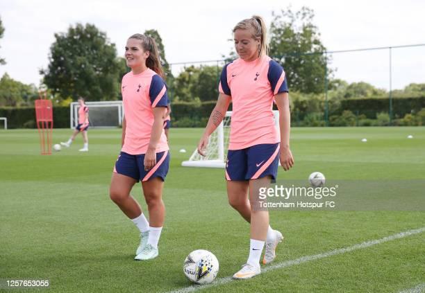 Siri Worm and Gemma Davison of Tottenham Hotspur Women during the Tottenham Hotspur Women training session at Tottenham Hotspur Training Centre on...