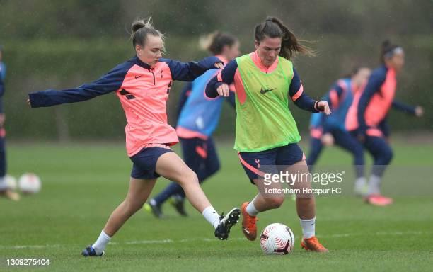 Siri Worm and Josie Green of Tottenham Hotspur Women during the Tottenham Hotspur Women training session at Tottenham Hotspur Training Centre on...
