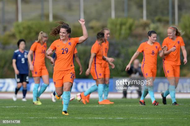 Siri Worm of Holland celebrates after scores a goal during the Women's Algarve Cup Tournament match between Japan and Holland at Municipal Bellavista...