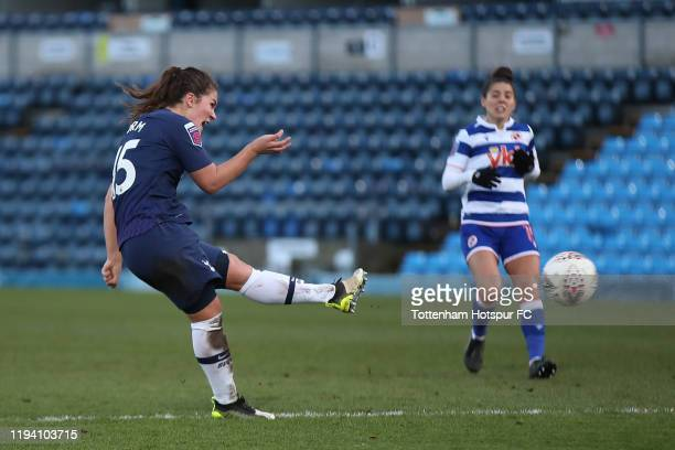 Siri Worm of Spurs scores their first goal during the Barclays FA Women's Super League match between Reading and Tottenham Hotspur at Adams Park on...