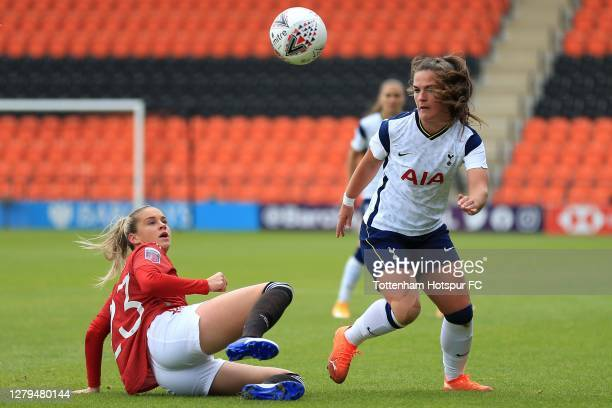 Siri Worm of Tottenham Hotspur and Alessia Russo of Manchester United during the Barclays FA Women's Super League match between Tottenham Hotspur...