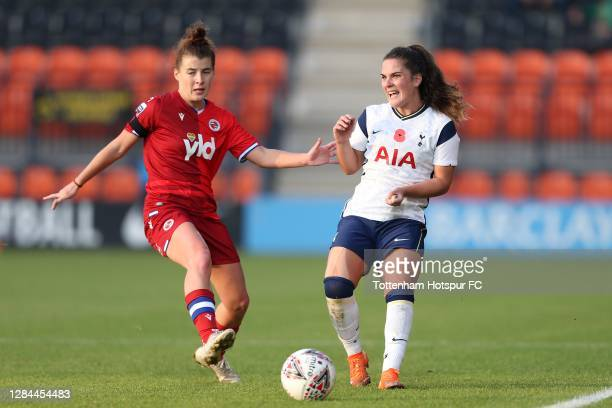 Siri Worm of Tottenham Hotspur and Angharad James of Reading compete for the ball during the Barclays FA Women's Super League match between Tottenham...