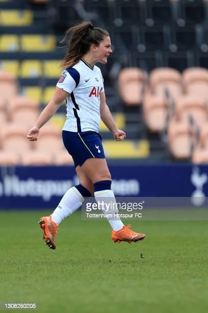 Siri Worm of Tottenham Hotspur celebrates scoring the opening goal during the Barclays FA Women's Super League match between Tottenham Hotspur Women...